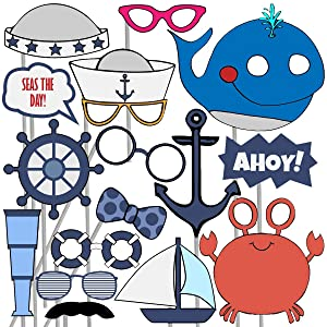 Blue Orchards Nautical Photo Props (32 Pieces) for Photo Booths, Kids Birthdays, Ocean Theme Parties and More! Our Photo Prop Party Favors are Pre-Made (Not DIY) for Your Convenience!