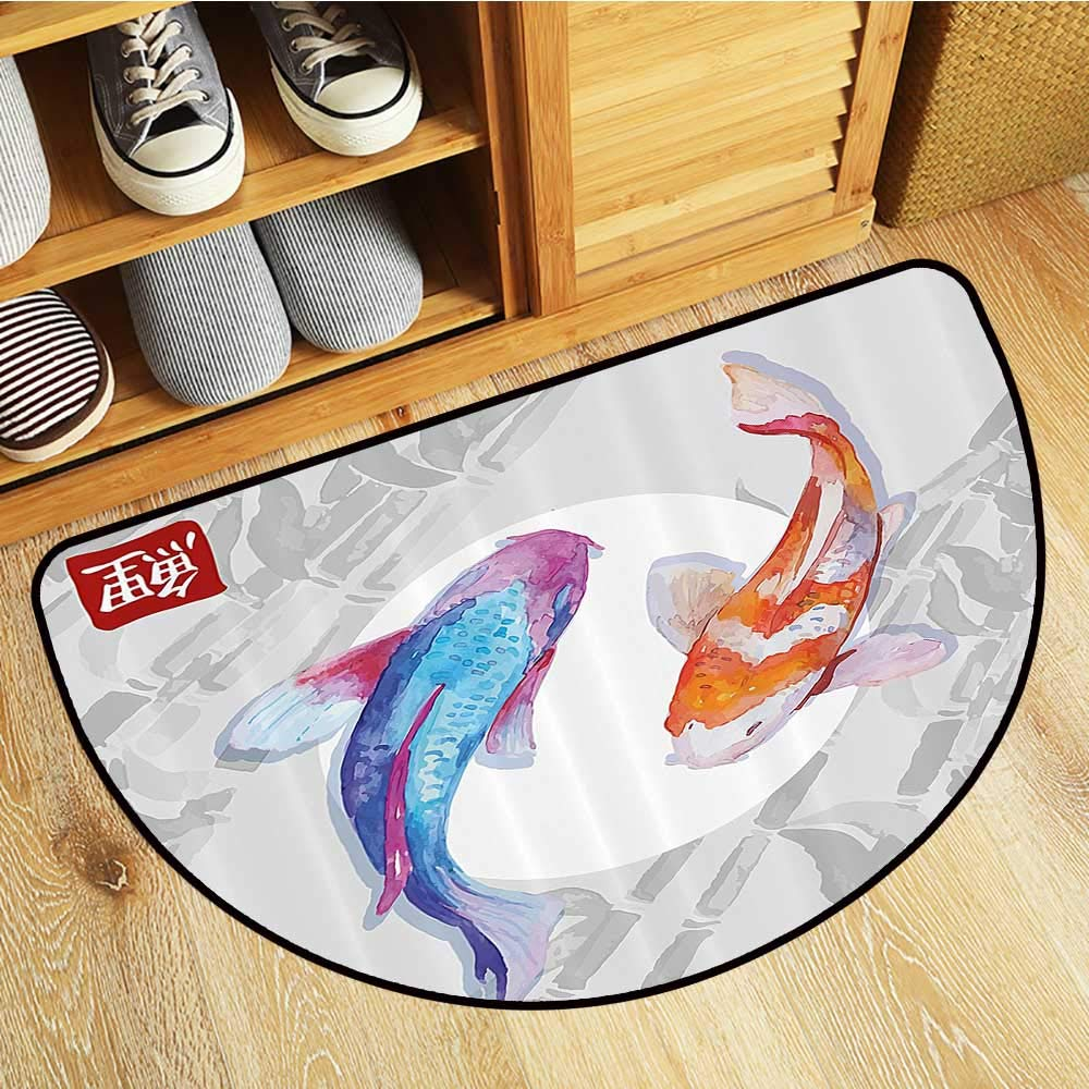 Semicircular Image Print Carpet Type of Pacific Fish with Mackerel Salm and Sea Bass Exotic Wild Home Bedroom Door Mat W23xH15 INCH