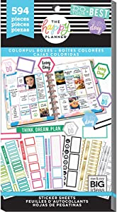 me & my BIG ideas Sticker Value Pack for Classic Planner - The Happy Planner Scrapbooking Supplies - Colorful Boxes Theme - Multi-Color - Great for Projects & Albums - 30 Sheets, 594 Stickers Total