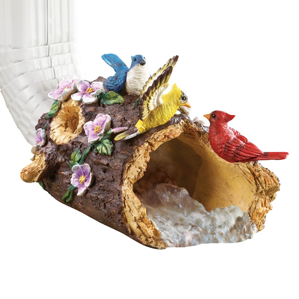 Collections Etc Pretty Bird Decorative Downspout, Brown