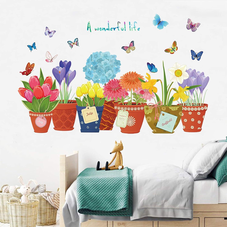 Flowers Wall Stickers for Girls Bedrooms Living Room DIY Plant Wall Decals DILIBRA Nursery Windows Garden Wall Decal Flowers Butterfly Wall Art Murals Flower Garden (Pink / Purple Watercolor)