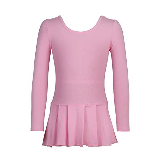 Anivivo Girls Ballet Leotard Long Sleeve Dance Gymnastics Dress Ballet Skirt