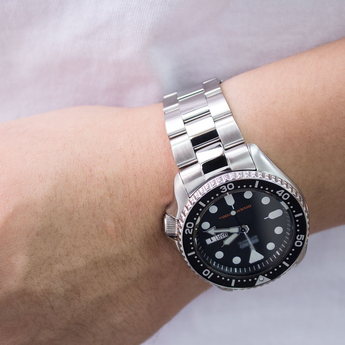 22mm Super Oyster Brushed & Polished 316L SS Watch Band for Seiko SKX007 SKX009 SKX011 by Seiko Replacement by MiLTAT (Image #2)