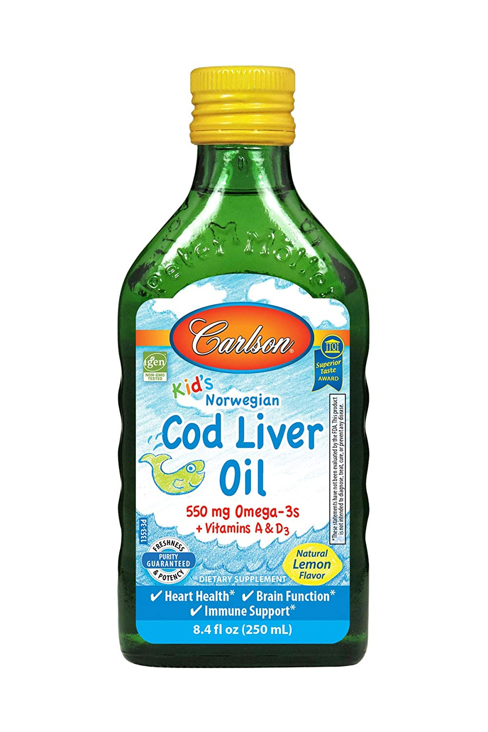 Carlson - Kid's Cod Liver Oil, 550 mg Omega-3s, Vitamins A & D3, Wild Norwegian, Lemon, 250 ml