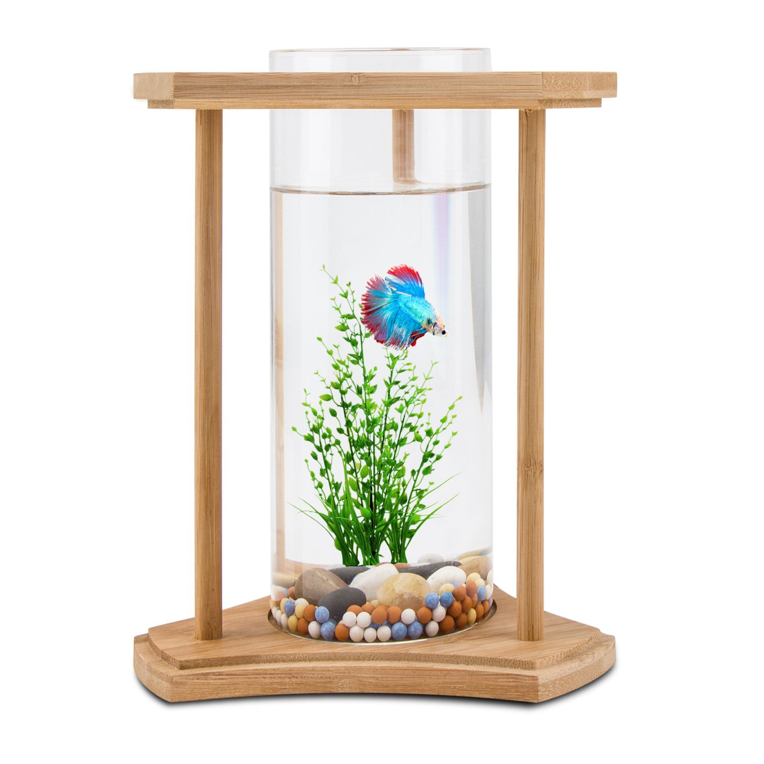 Amazon.com: Segarty Desktop Fish Tank Bamboo - Unique Design Small ...