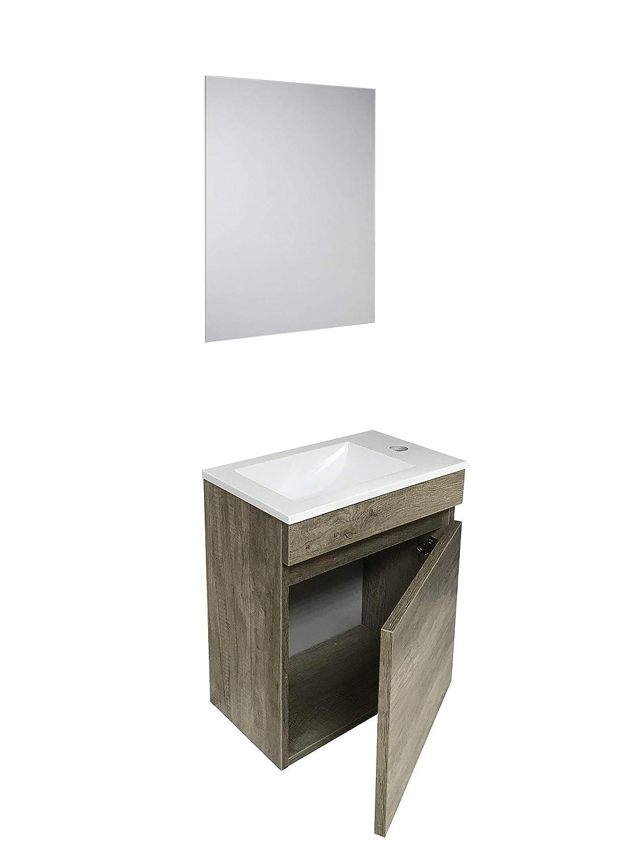 Arredo Bagno OSLO Starbath Specchio Lavabo Resina Set Mobile Bagno Sospeso 40 x 22 MDF Marrone