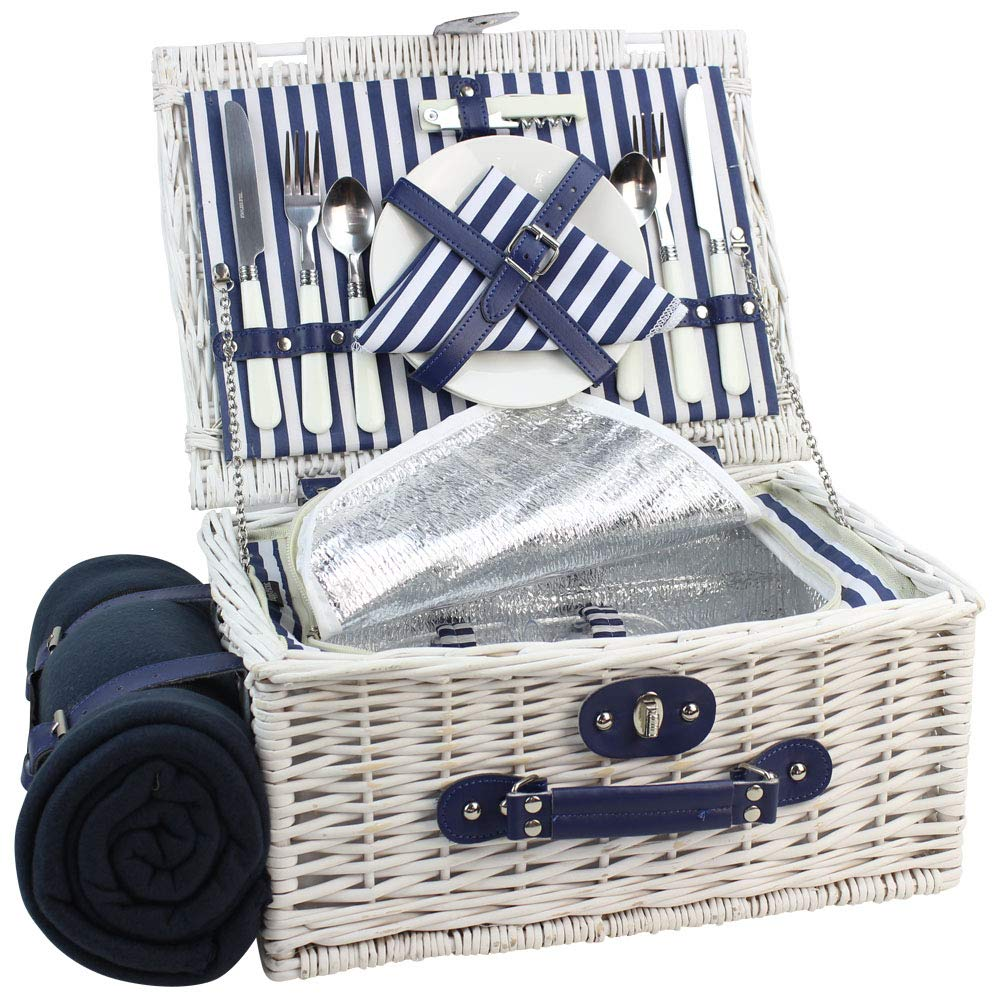 INNO STAGE Willow Picnic Basket for 2 Persons, Wicker Hamper Set with Insulated Cooler Compartment, Fleece Picnic Rug(White Washed)