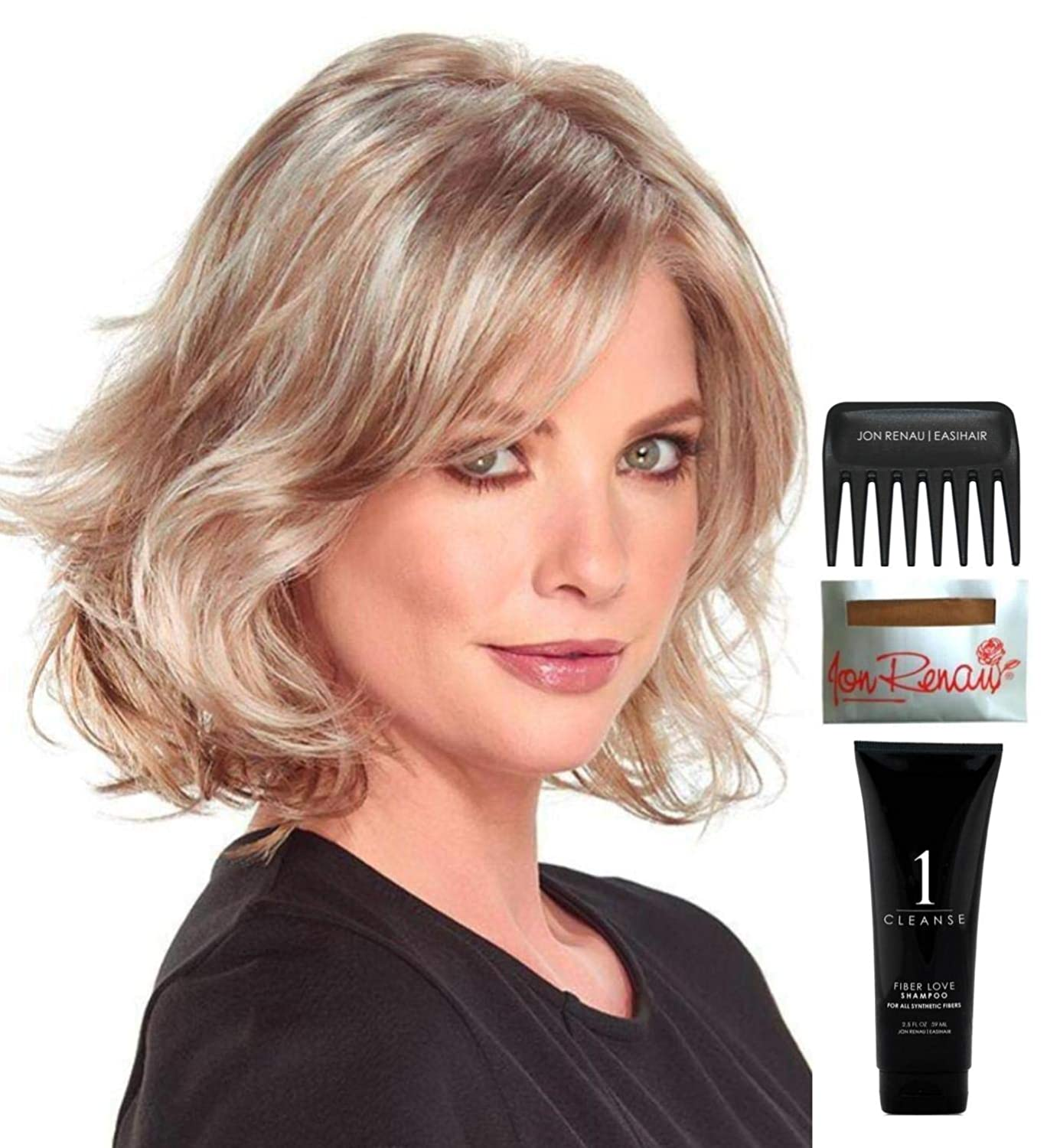 Bundle - 5 Items: Felicity Wig by Jon Renau, Christy's Wigs Q & A Booklet, 2oz Travel Size Wig Shampoo, Wig Cap & Wide Tooth Comb - Color: FS4/33/30A