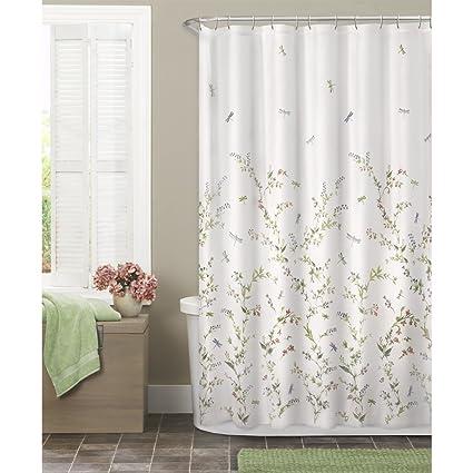 Interesting Dragon Fly Shower Curtain. Maytex Dragonfly Garden Semi Sheer Fabric Shower Curtain Amazon com