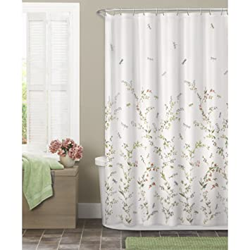 Curtains Ideas cloth shower curtain : Amazon.com: Maytex Dragonfly Garden Semi Sheer Fabric Shower ...