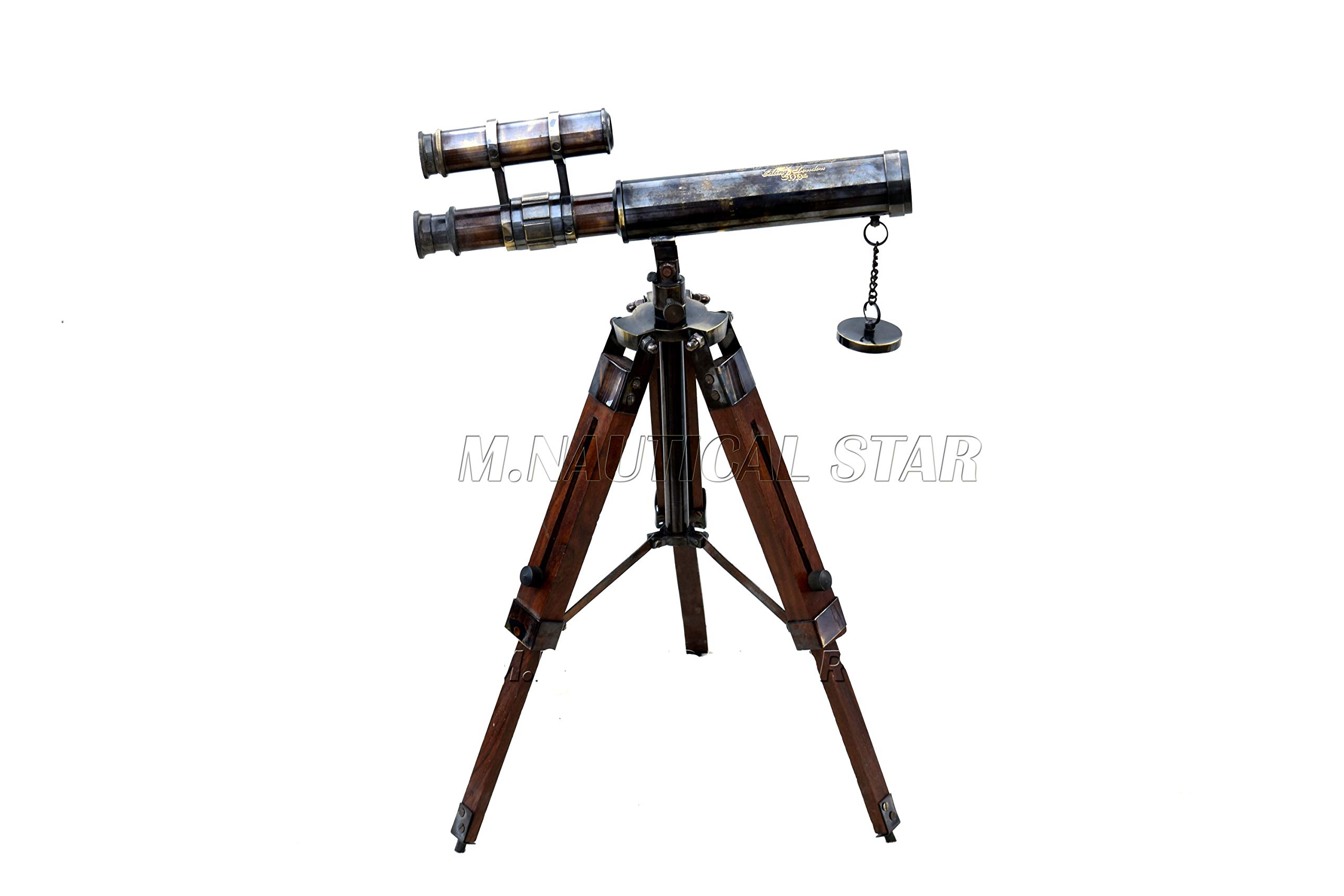 M.Nautical Star Vintage Style Handmade Brass Antique Double Barrel Telescope On Wooden Stand Perfect Table Decorative by M.Nautical Star