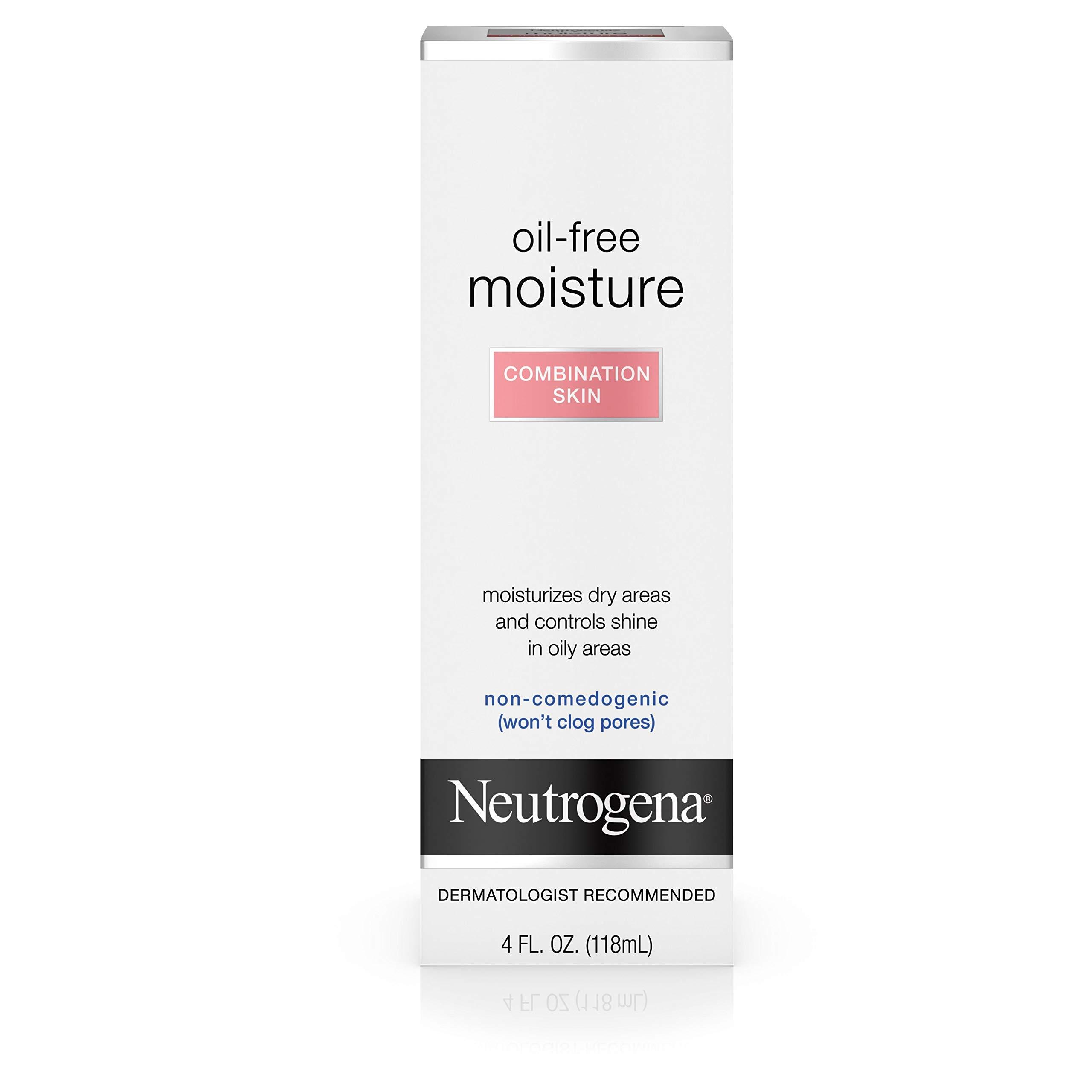 Neutrogena Oil Free Moisture Glycerin Face Moisturizer & Neck Cream Derived from Castor Oil, Lightweight, Oil Absorbing, Soft Natural Matte Finish Facial Moisturizer Lotion, 4 fl. oz