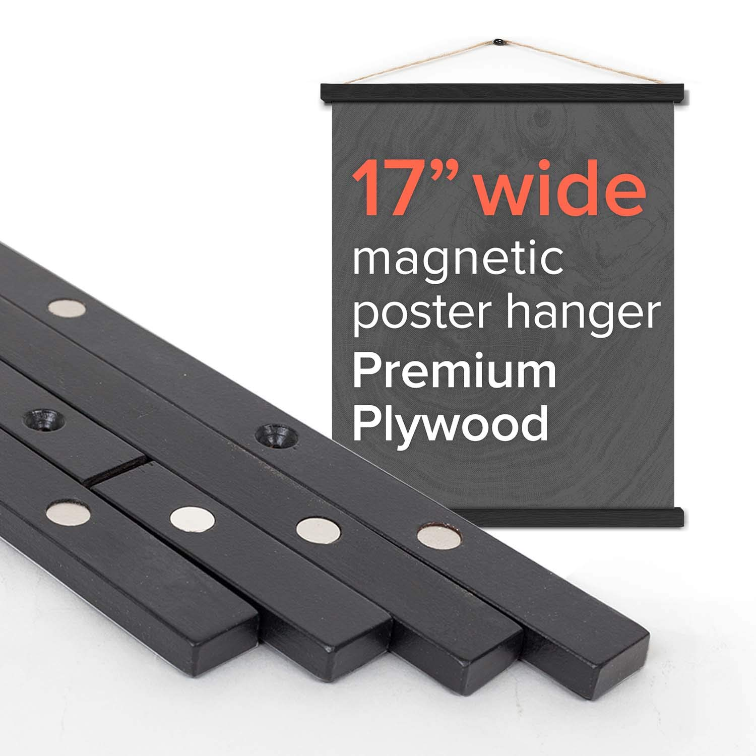 Stiicks 17'' Wide Magnetic Poster Frame Hanger in Black - Premium Plywood and Magnets Strong Enough to Hang Any Length