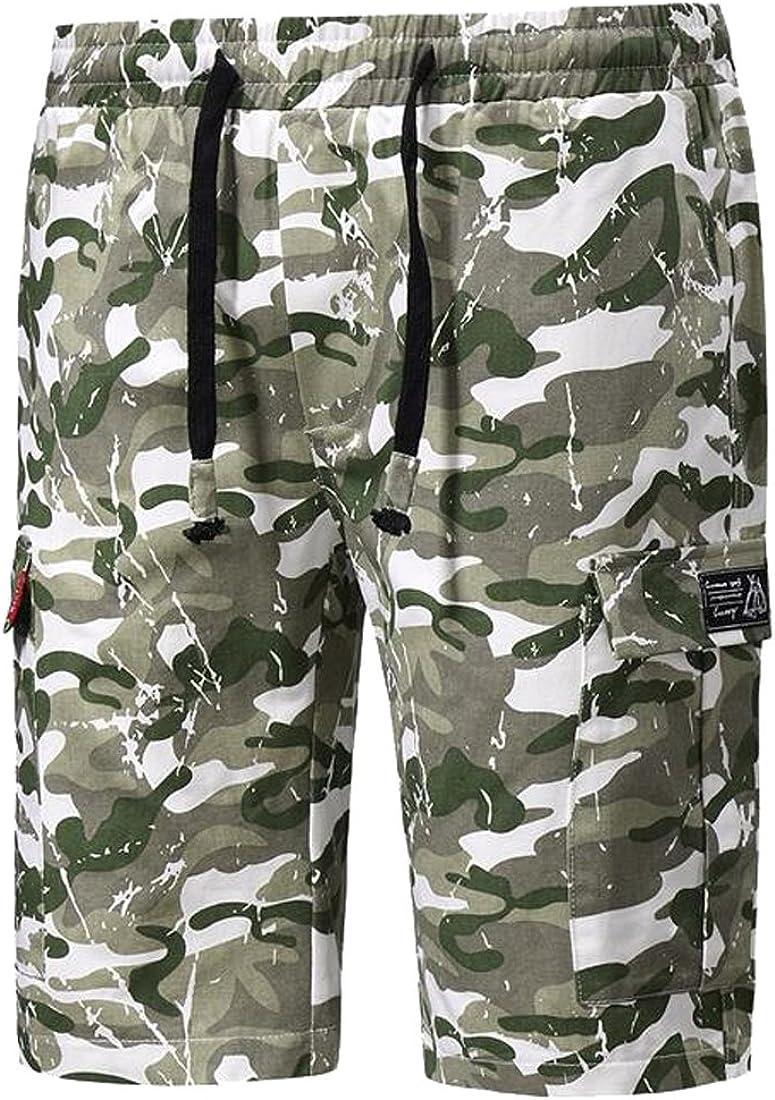 Oberora-Men Classic Drawstring Waist Military Camo Straight Leg Cargo Shorts Swim Trunk