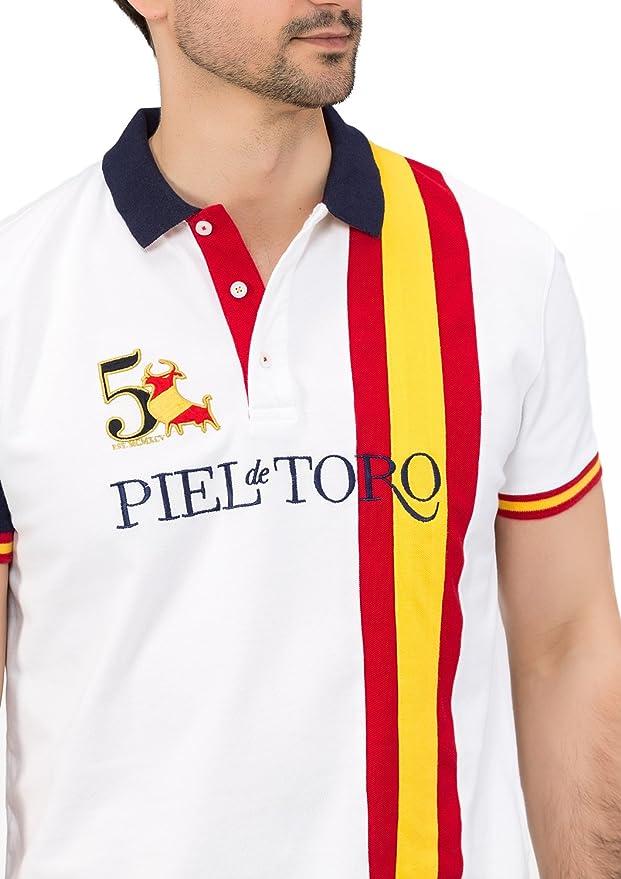 Piel de Toro Bandera ESPAÑA Franja Vertical Polo, Blanco (Blanco ...