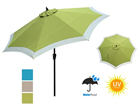 APEX GARDEN Dual Color 9 ft 8 Ribs Outdoor Patio Table Market Umbrella Push Button Tilt and Crank Lift, Oasis Green