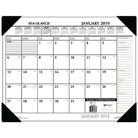 "AT A GLANCE 2019 Desk Calendar Desk Pad 21-3//4/"" x 17/"" Standard Ruled Blocks"
