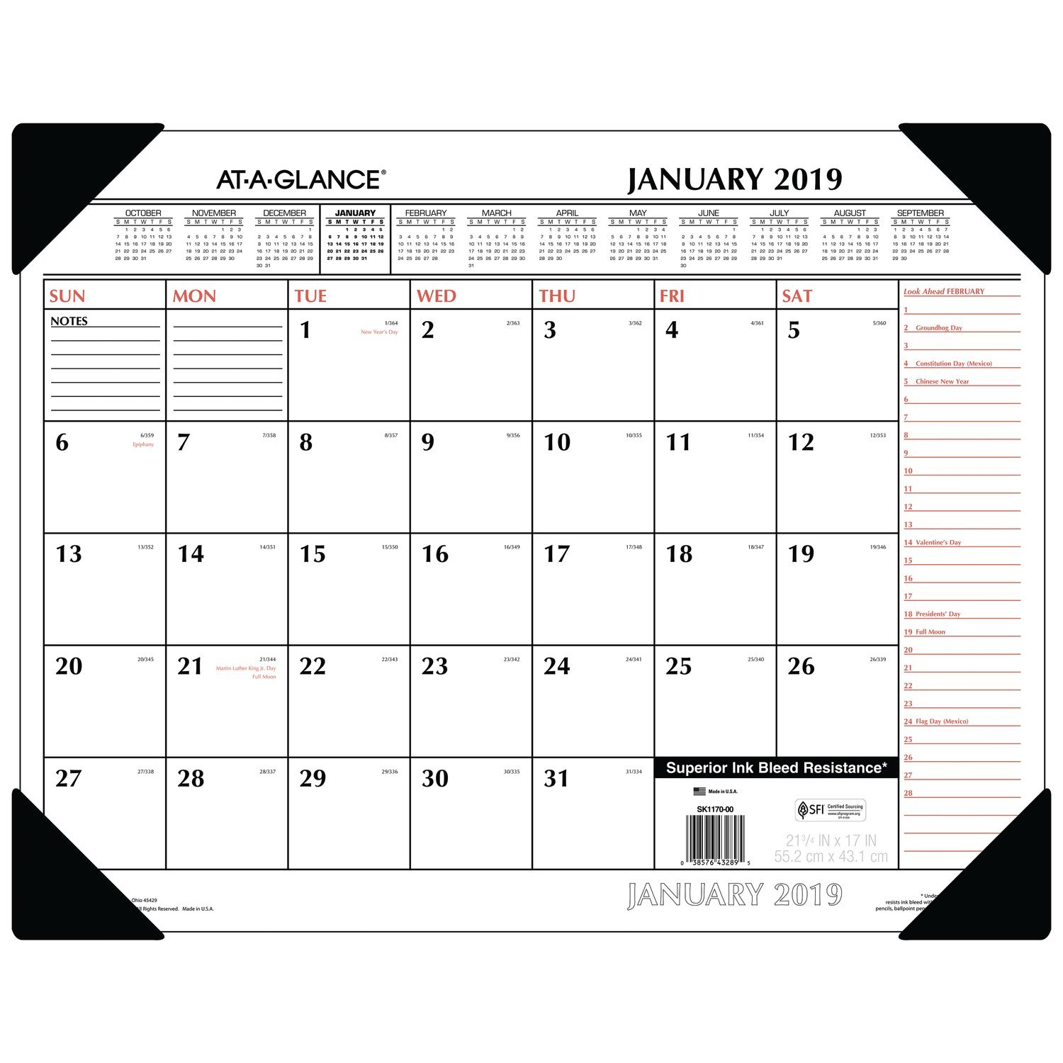 AT-A-GLANCE Monthly Desk Pad Calendar, January 2019 - December 2019, 22'' x 17'', Two-Color, Red / Black (SK117000)