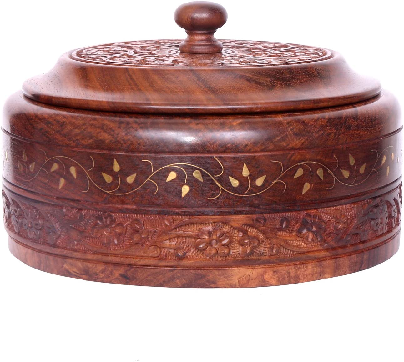 WILLART Wooden Hot Pot Casserole Dish with Lid, Tortilla Chapati Keeper/Warmer Casserole With Copper Finish Kitchen Home Décor Dinning Ideal for Gift on Diwali, IED and Christmas
