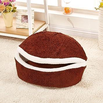 Myfei® Cama para mascotas, diseño de hamburguesa, con forma de concha, lavable