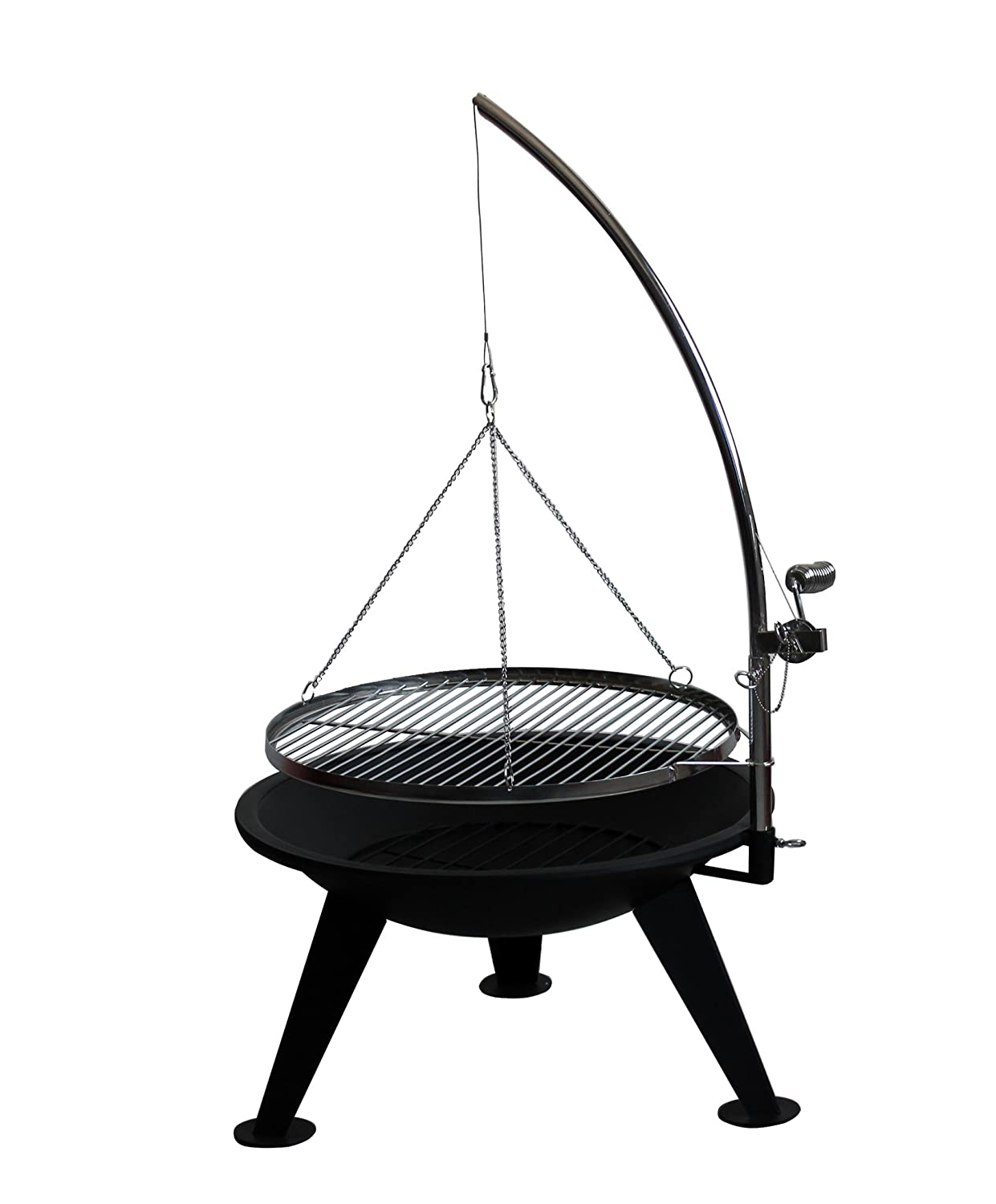 Nimbus Barbecue Fire Pit - Big 65 cm Bowl - Suspended Adjustable BBQ Chrome Grill - with poker