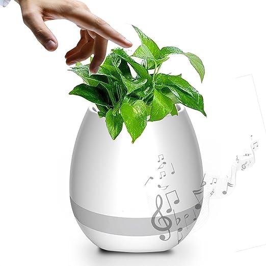 Splink 3-en-1 Altavoz Bluetooth en LED Noche Luz Smart Music Flowerpot Altavoz Inalámbrico