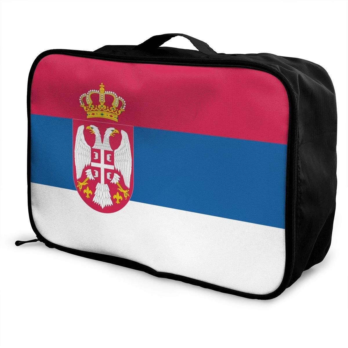 Portable Luggage Duffel Bag Serbia Flag Travel Bags Carry-on In Trolley Handle