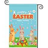beitony Happy Easter Garden Flag for Outside12.5 x 18 Inches Three Rabbit & Egg Vertical Double-Sided Polyester Cloth Outdoor