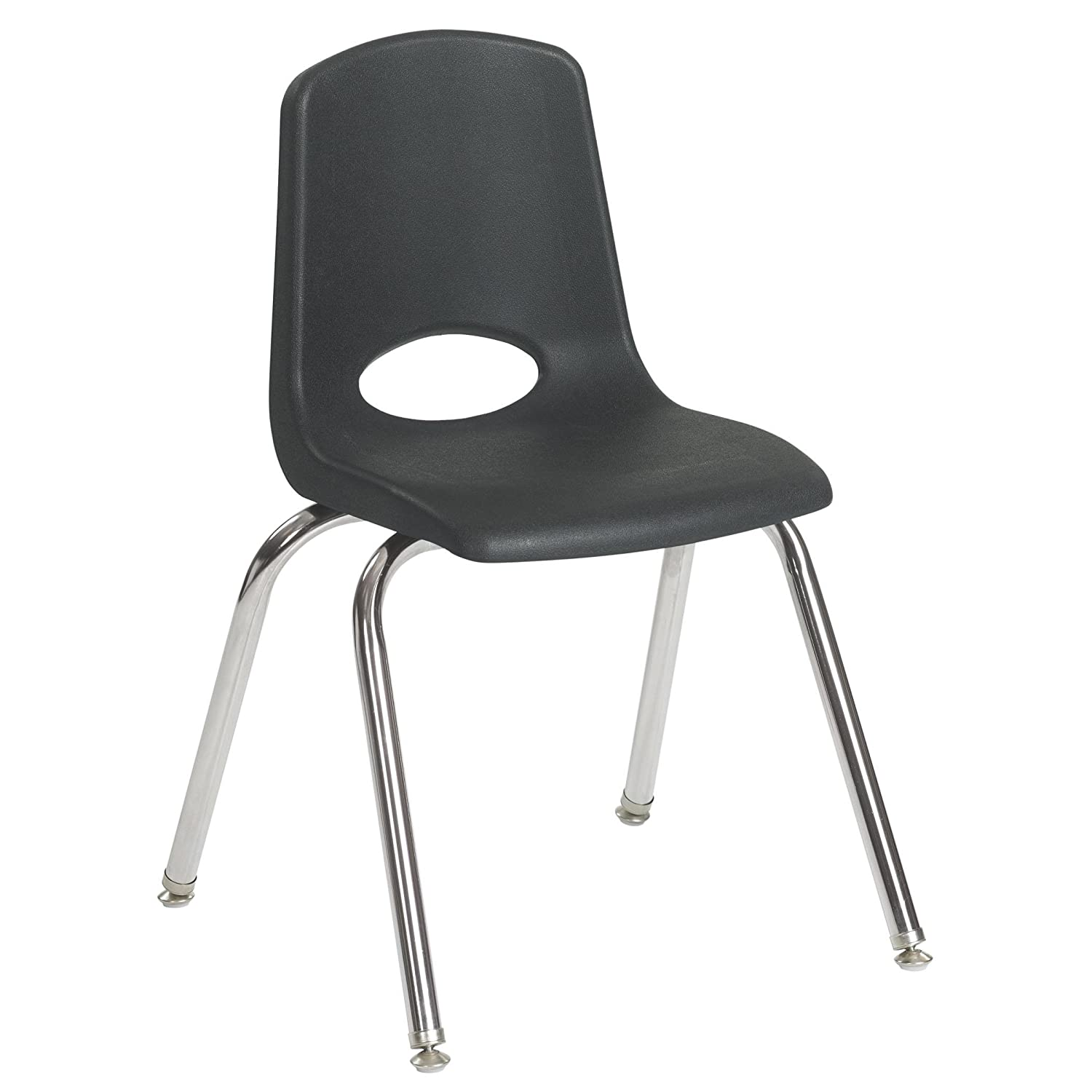 ECR4Kids Stack Chair with Swivel Glide in Black - Set of 5