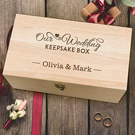 Howson London Large Personalised Wedding Keepsake Box Heavy Oak Memory Box Box Wedding Gift For Couples Personalised Engraved Wedding Wooden Keepsake Memory Chest Box Amazon Co Uk Kitchen Home
