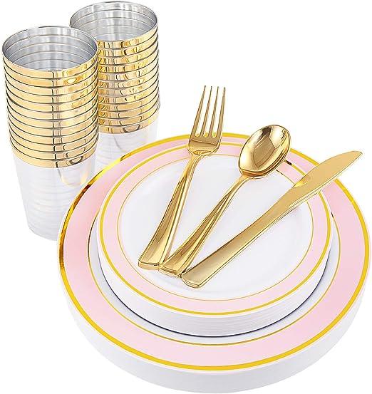 Amazon.com: NERVURE 25 platos de plástico dorados con ...