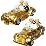 Figurines noces d'or avec voiture