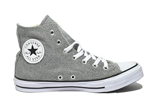 a858f8e85af1 CONVERSE Chuck Taylor All Star Hi sneakers TESSUTO SILVER WHITE BIANCO 37   Amazon.it  Scarpe e borse