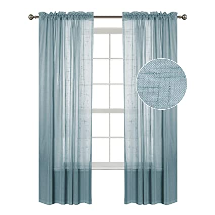 Amazon Com Faux Linen White Sheer Curtains Drapes For Bedroom