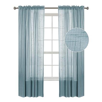 Flamingo P Aqua 2 Pack 52quot Inch X 96quot Window Curtain Sheer