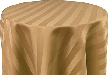 Beau 60 X 120 Inch OVAL Tablecloth, Polystripe   ULTRA WIDE, Cafe