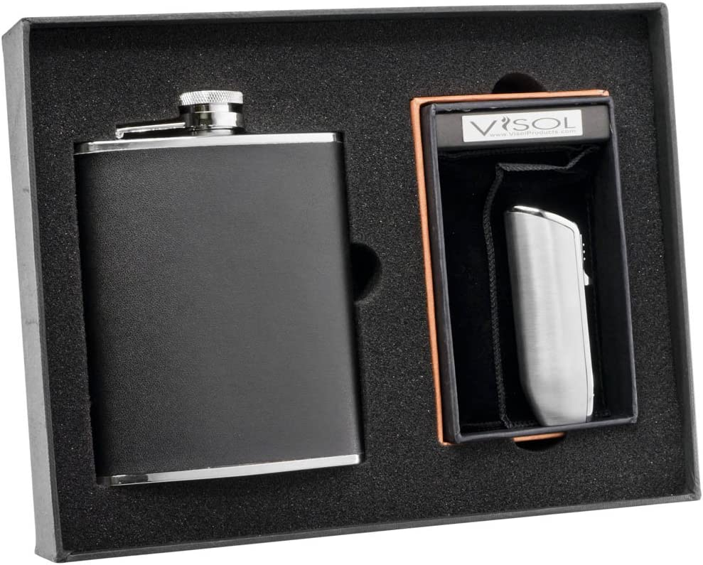 Amazon Com Visol Ano Black Leather Flask And Ternion Silver Triple Torch Flame Lighter Set Sports Outdoors
