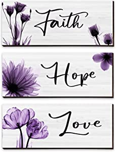Shellwei 3 Pieces Purple Elegant Tulip Wooden Hanging Wall Plaque Faith Love Hope Rustic Wooden Wall Sign Purple Flower Wall Art Decor for Farmhouse Living Room Bedroom Office Decor, 10 x 4 x 0.2 Inch