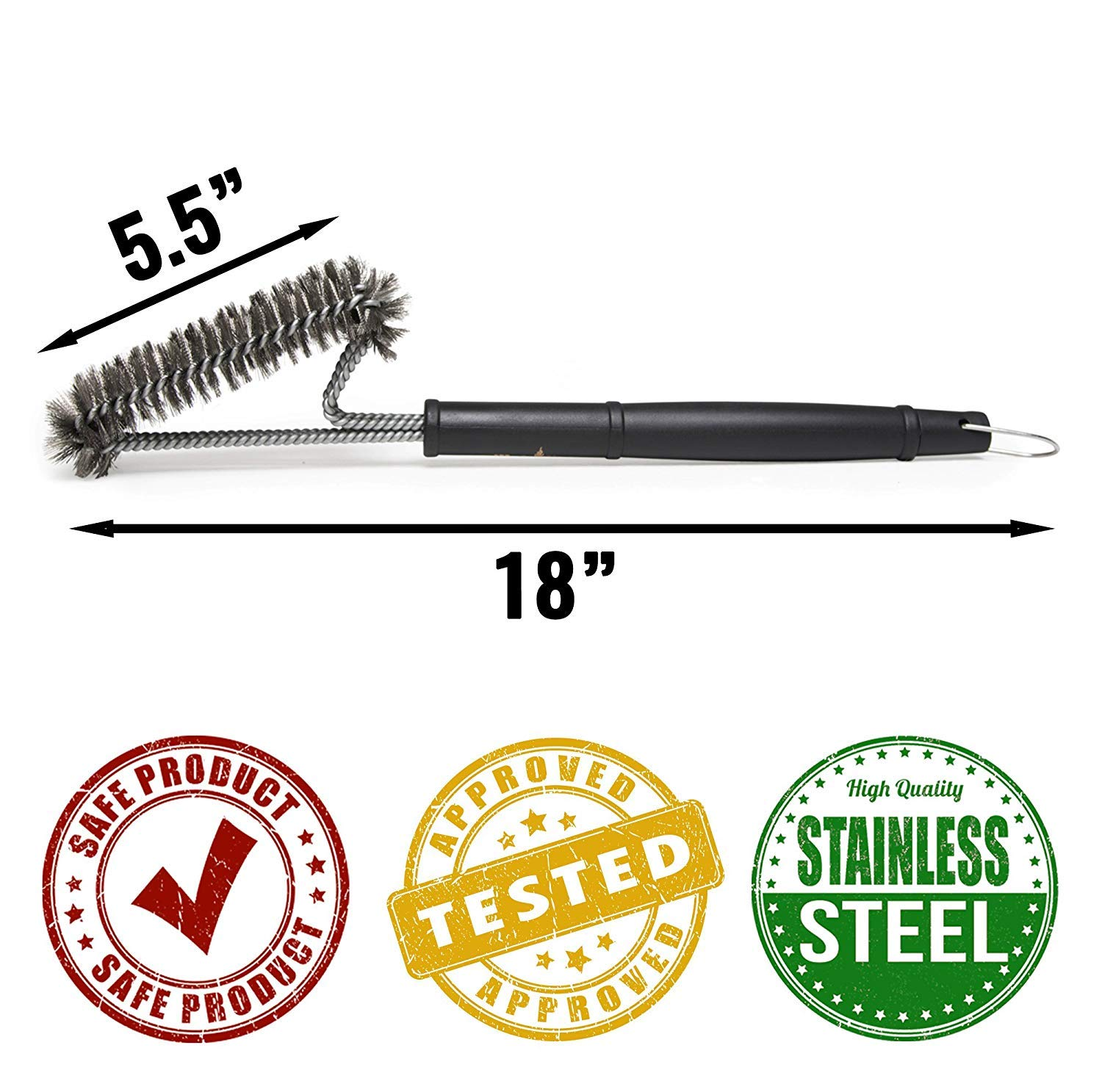Grillaholics Essentials Brass Grill Brush Lifetime Manufacturers Warranty Softer Brass Bristle Wire Grill Brush for Safely Cleaning Porcelain and Ceramic Grates