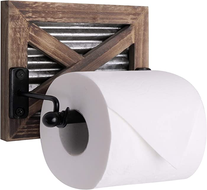 Autumn Alley Rustic Farmhouse Barn Door Toilet Paper Holder   Constructed of Warm Brown Wood, Corrugated Metal and Black Metal   Adds Functional Farmhouse Charm to Your Bathroom