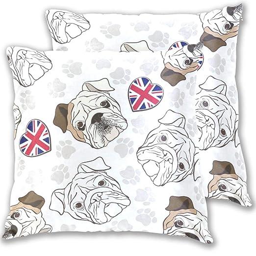 BEUSS UK Perro Cachorro Corazón Funda de Almohada Cuadrada ...