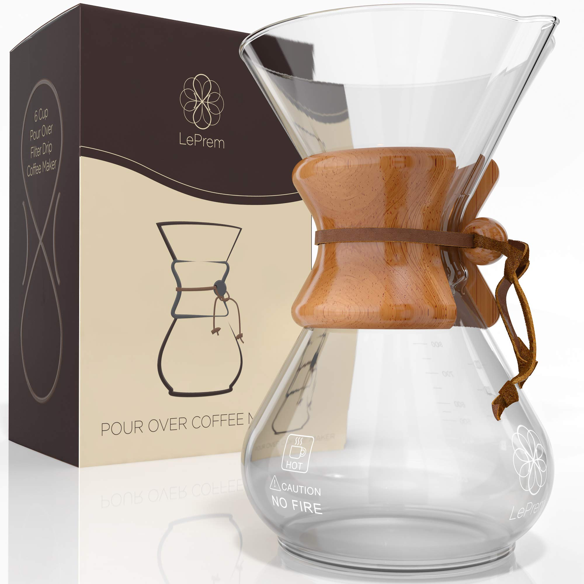 Pour Over Coffee Maker Hand Blown Glass - Classic 6 Cup Hand Drip Brewer - Strong Borosilicate Carafe, Easy Clean and Better Tasting Coffee by LePrem