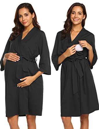 7cd592672aa Ekouaer Women Robe 3 in 1 Maternity Labor Gown Hospital Breastfeeding  Bathrobe