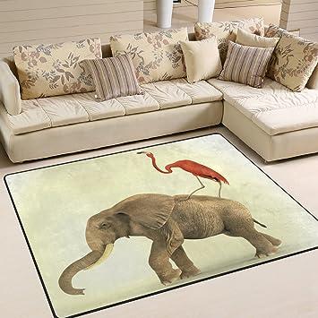 Amazon.de: Bereich Teppich Funny, Elefant Flamingo Afrikanische ...
