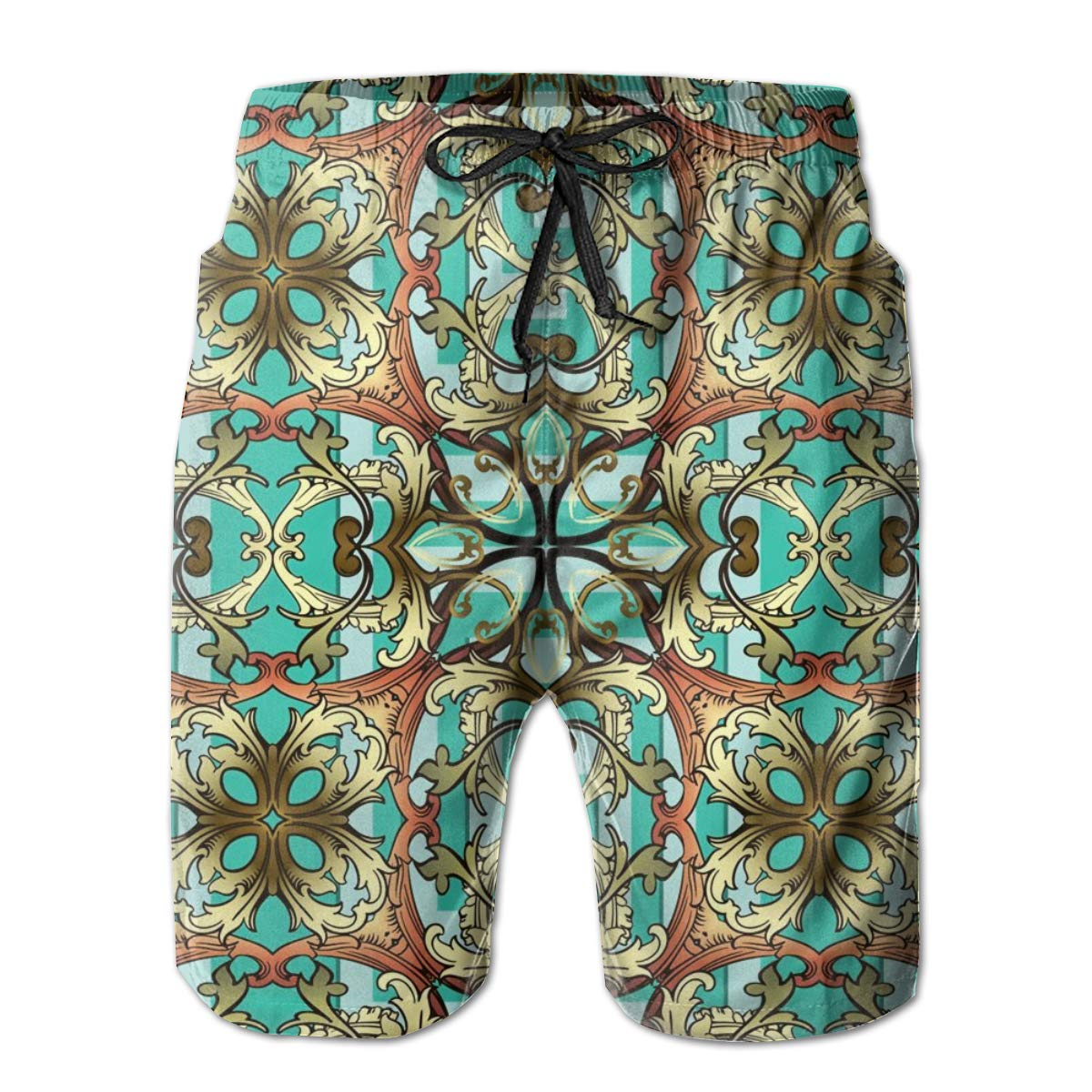SARA NELL Mens Shorts Gold Baroque Pattern Greek Key Meanders Quick Dry Swim Trunks Beach Board Shorts