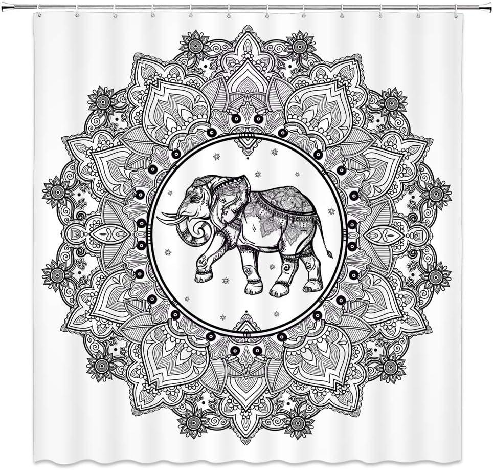 BOYIAN Elephant Shower Curtain Decor Mandala Bohemian Floral Leaf Pattern African Indian Animals White Black Fabric Bath Curtains Bathroom Polyester with Plastic Hooks 70x70Inch