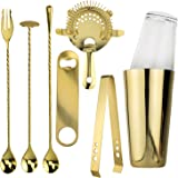 Prince of Scots Professional Series 8 Piece Boston Style Cocktail Shaker ~ Gold