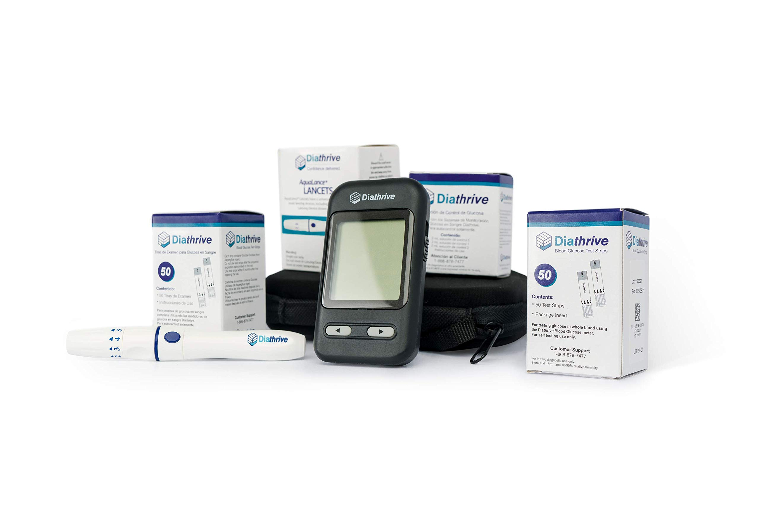 Diathrive Blood Glucose Meter Starter Kit | Includes: 100 Test Strips, 100 Lancets, Lancing Device, Control Solution, Meter, Manuals, Logbook, Carrying Case by Diathrive (Image #2)