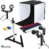 "LimoStudio 24"" Table Top Photography Studio Light Tent Kit in a Box - Photo Tent, 2x Double Head Light Set, Mini Camera Stand, 2x GU10 Light Bulbs, AGG903"
