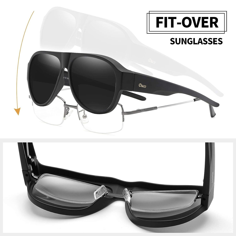 148171e4c7 DUCO Pilot Style Men s and Women s Polarised Wrap Around Fit-Over  Sunglasses over Prescription Glasses 8959 (Black Grey)  Amazon.co.uk   Clothing